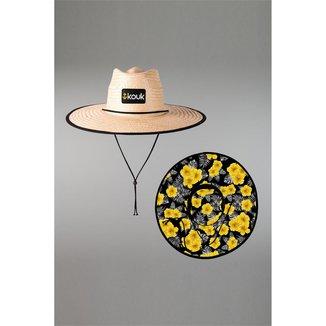 Chapéu de Palha Hibiscus Amarelo