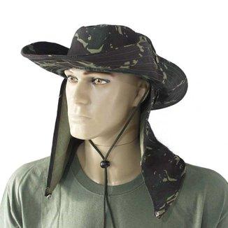 Chapéu Verde Camuflado Com Proteção De Pescoço Australiano Poliéster Para Camping Pesca