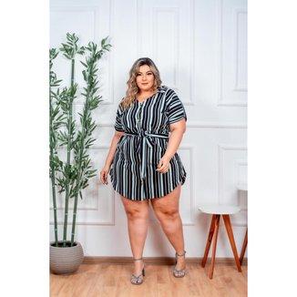 Chemise Vestido Plus Size Listrada Moda Feminina do 48 ao 52