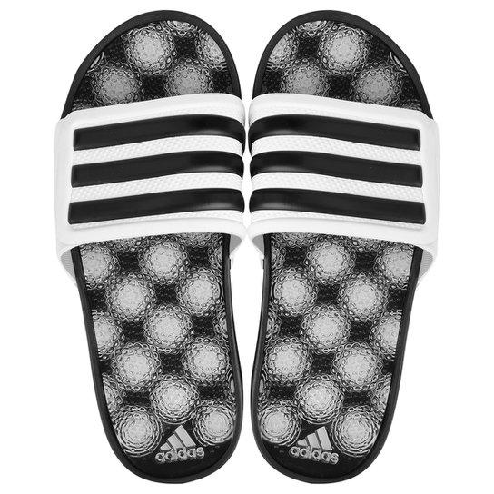 Chinelo Adidas Adissage 2 Stripes - Preto+Branco