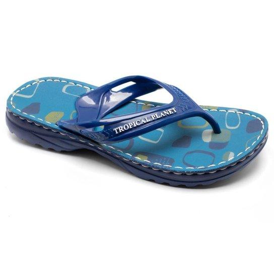 Chinelo Alcalay Estampado Macio Confortável Leve Casual NCH03AL - Azul