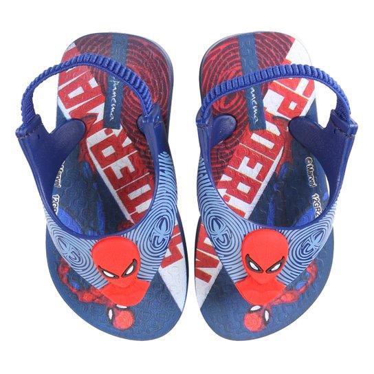 Chinelo Bebê Grendene Kids Homem Aranha Power IV Babe Masculino - Azul+Vermelho
