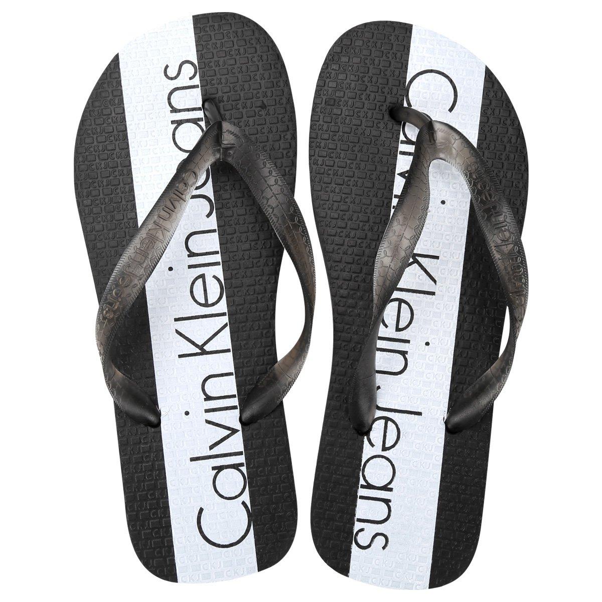 Chinelo Calvin Klein Logo Listra Central - Compre Agora   Netshoes 6789e6ff35