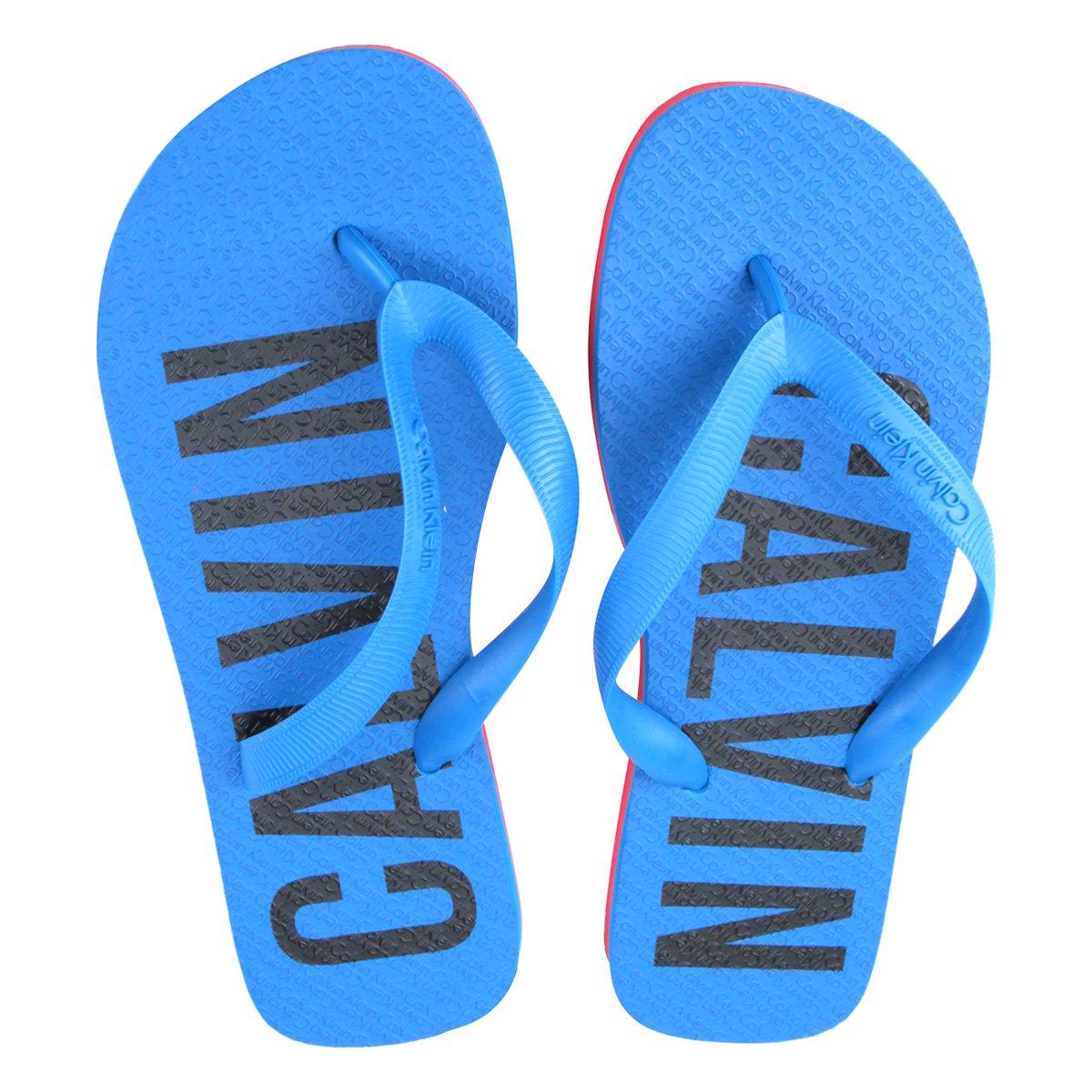7cde574fb099e ... Chinelo Calvin Klein Logo Masculino - Azul. ZATTINI
