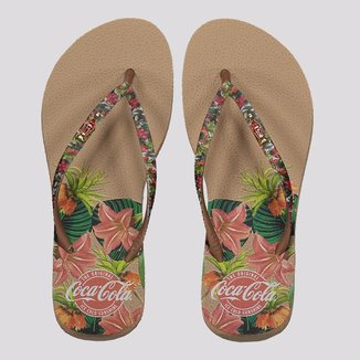 Chinelo Coca Cola Tropical Forest Feminino Bege