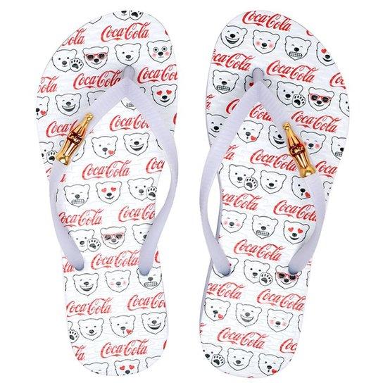 Chinelo Coca-Cola Urso Feminino - Branco