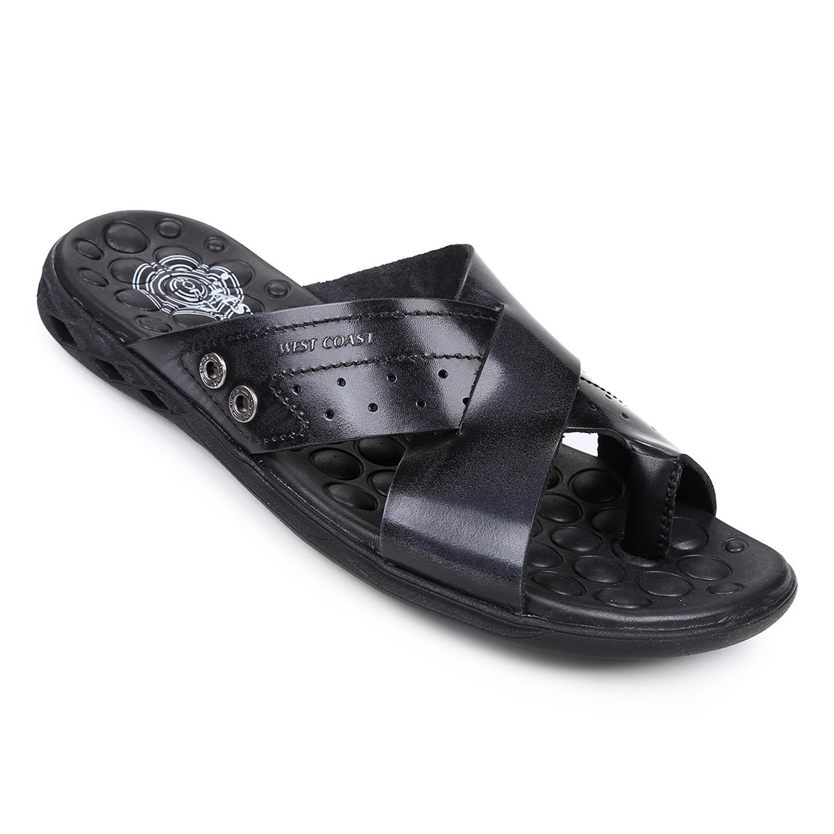 West Chinelo Preto Chinelo Preto Coast Block Masculino Couro Masculino West Block Coast Couro Chinelo UwBdpAxqA1