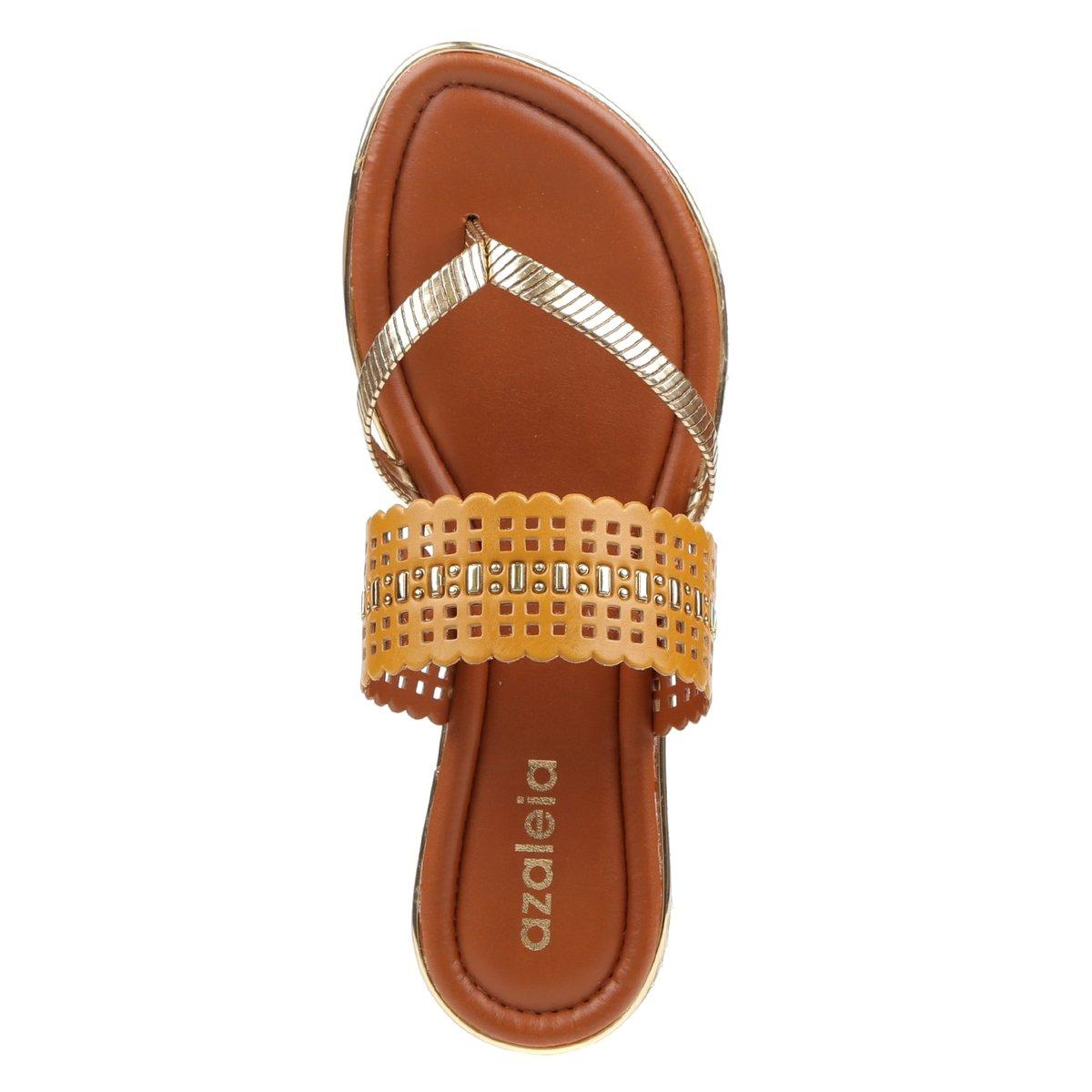 e5f2c42d30 Chinelo Feminino Azaléia Dourado - Compre Agora