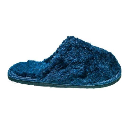 Chinelo Feminino Pantufa Macio Anti Derrapante Confortável - Azul Escuro