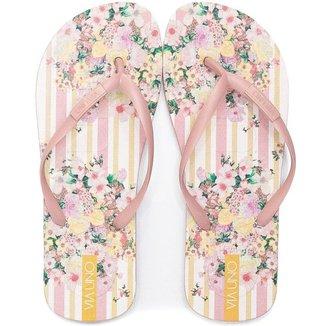 Chinelo Flip Flop Feminino Floral E Listras Via Uno 526015