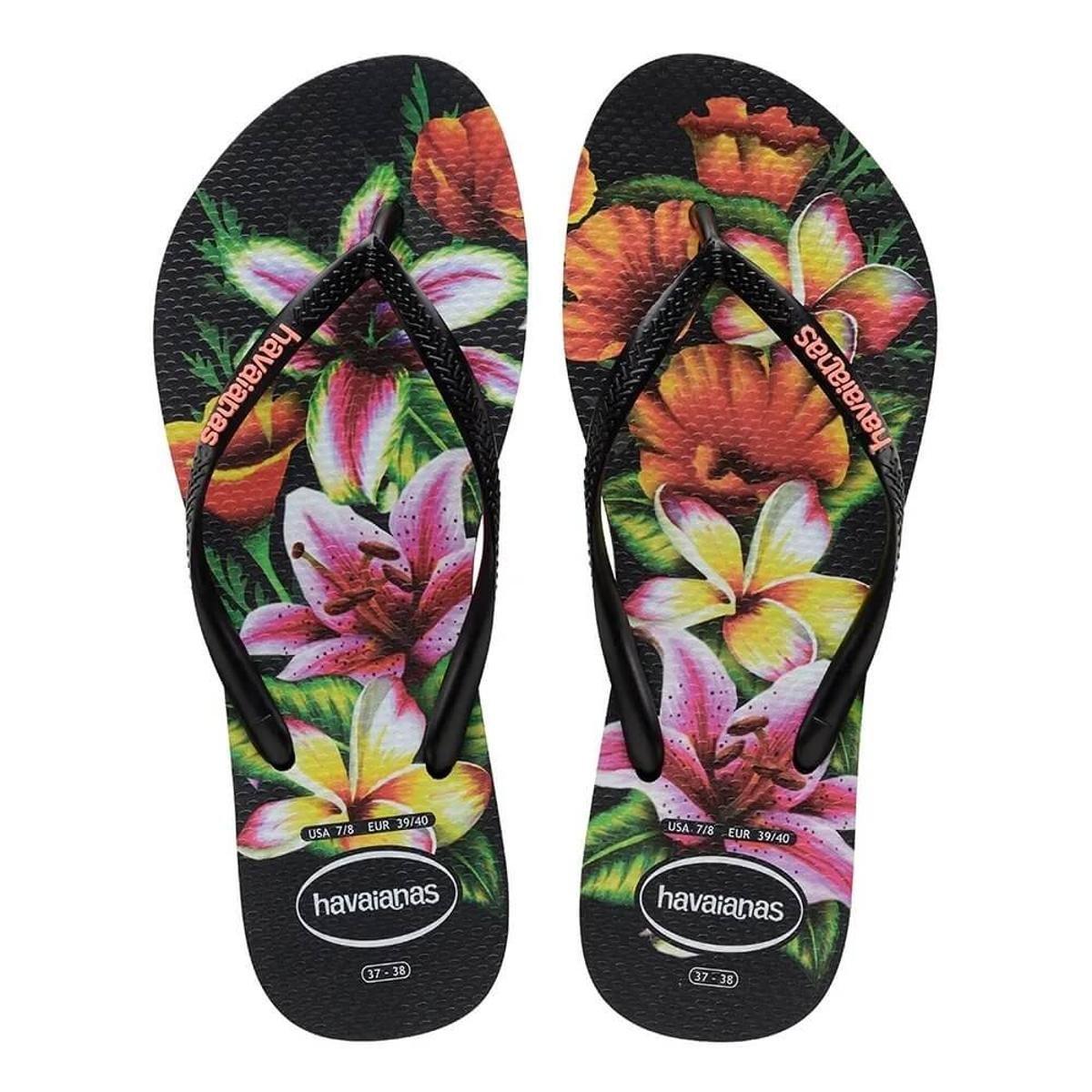 Chinelo Havaianas Slim Floral Feminino Preto e Laranja