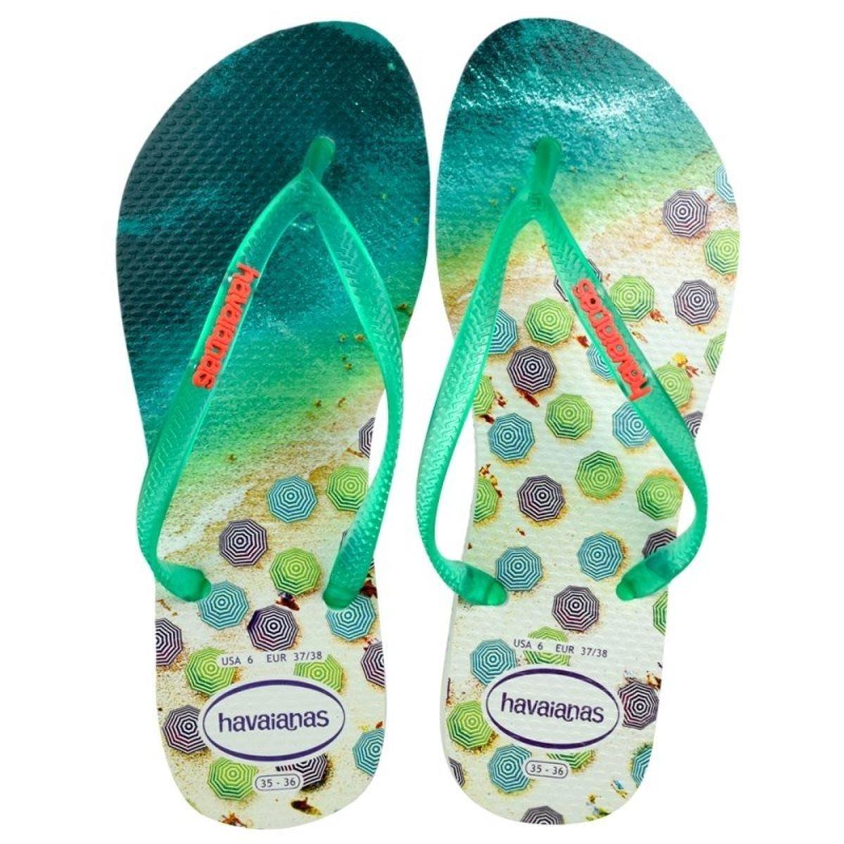 competitive price c0c4a af0c0 Chinelo Havaianas Slim Paisage Feminino - Branco e Verde