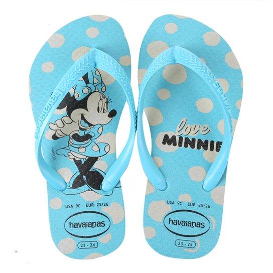 Chinelo Infantil Havaianas Slim Disney Minnie Feminino - Azul