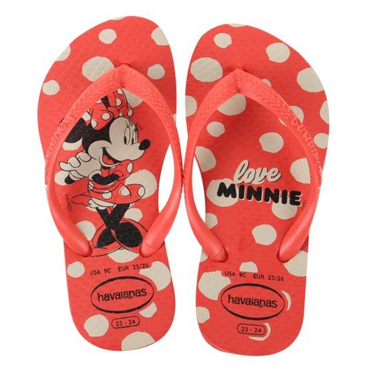 Chinelo Infantil Havaianas Slim Disney Minnie Feminino - Vermelho