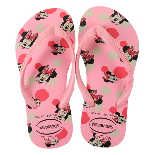 Chinelo Infantil Havaianas Slim Disney Minnie Feminino - Rosa