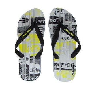 Chinelo Masculino Mormaii Tropical Graphics Branco Preto Amarelo