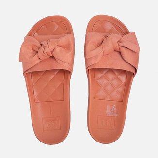 Chinelo Moleca Slide Camurça Flex Feminino Coral