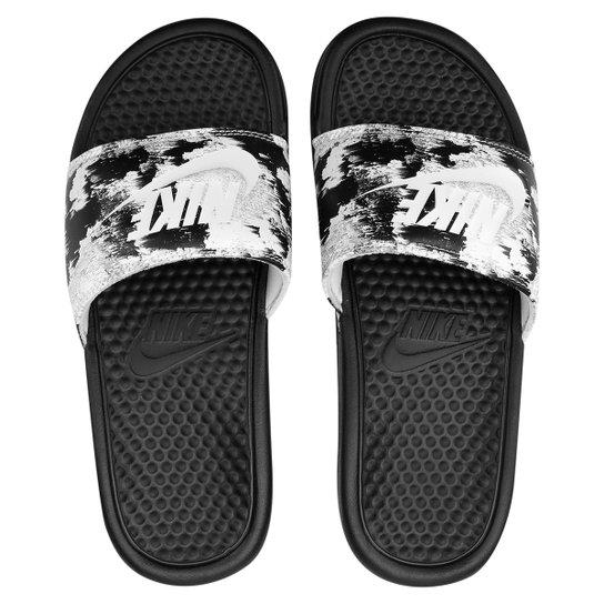 Chinelo Nike Benassi Jdi Print Feminina - Preto+Branco