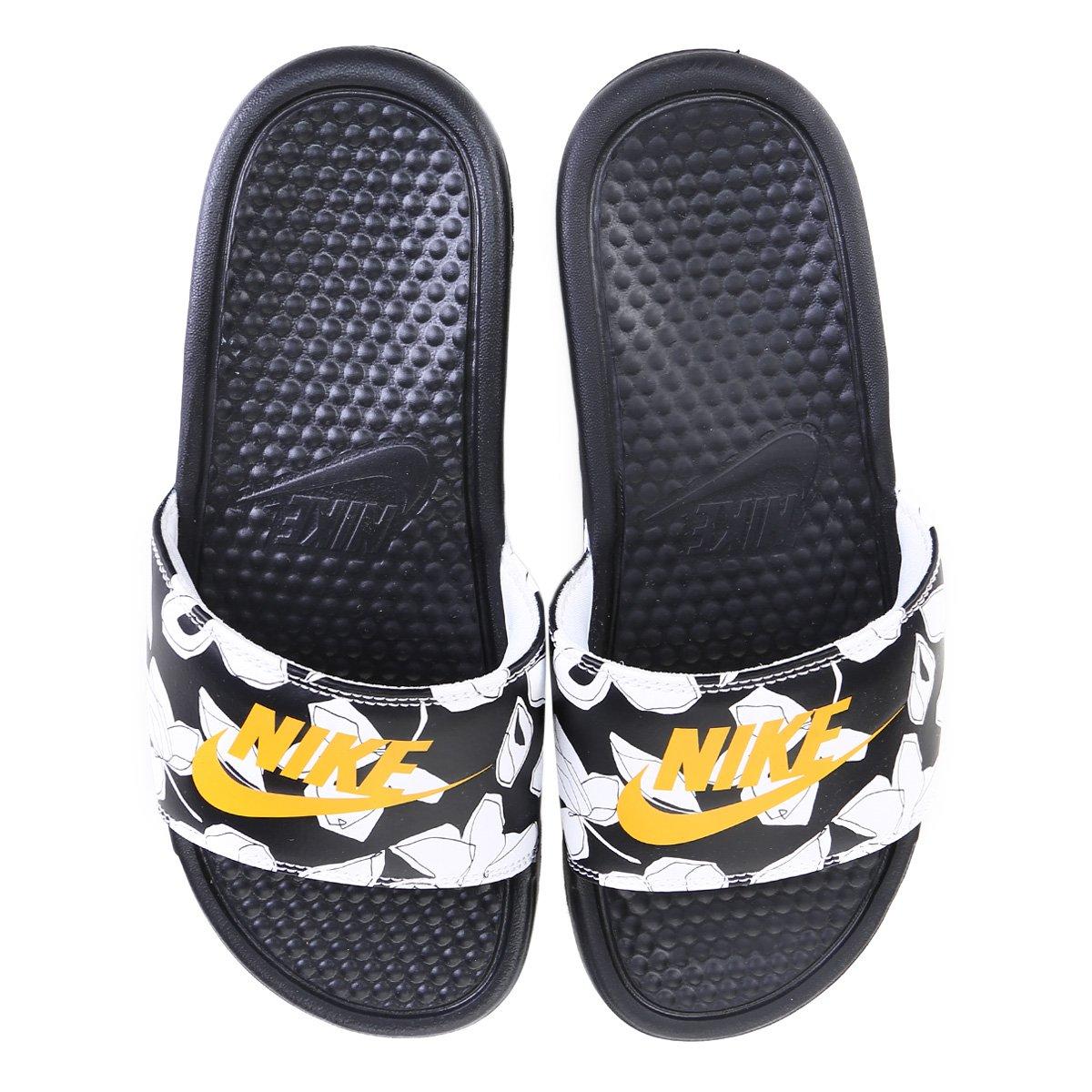 Chinelo Nike Benassi Jdi Print Masculino Preto E Amarelo