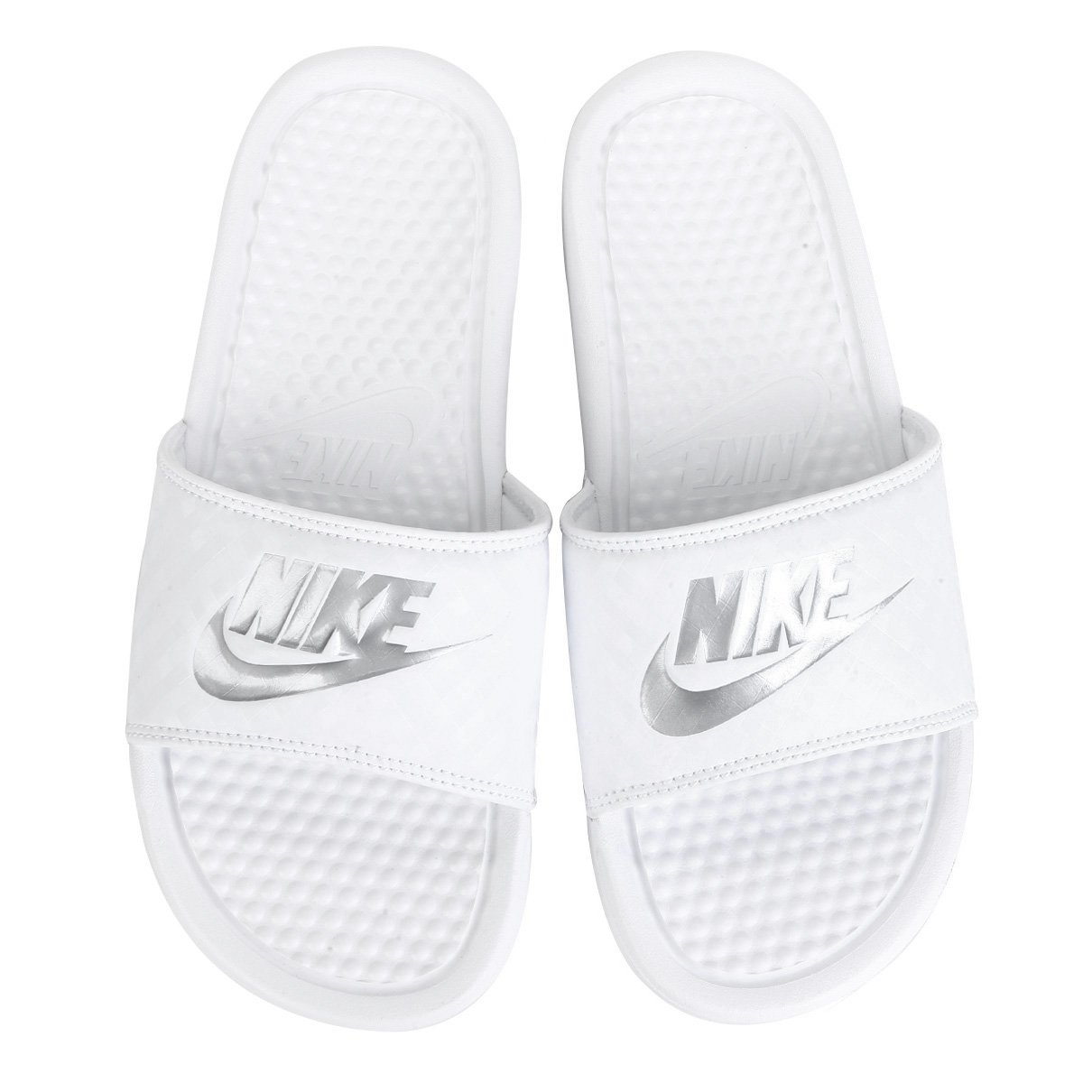 Chinelo Nike Benassi Jdi Slide Feminino Branco E Prata