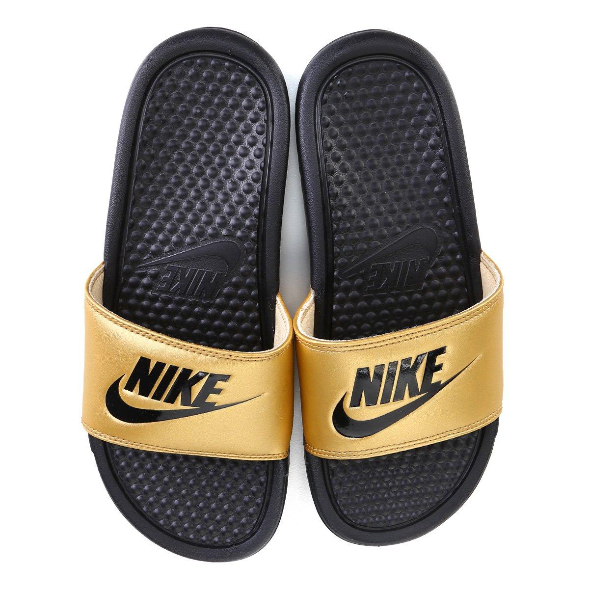 Chinelo Nike Benassi Jdi Slide Feminino Preto E Dourado