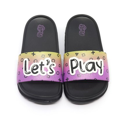 Chinelo Plugt Slide Let's Play Preto