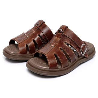 Chinelo Sandália em Couro Roma Shoes Gel Ortopédico Anti Impacto