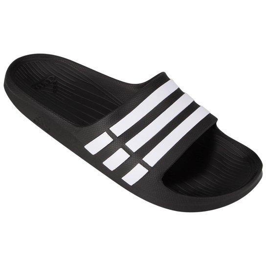 Chinelo Slide Adidas Duramo  - Preto+Branco