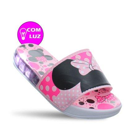 Chinelo Slide Com Luz Infantil Juvenil Meninas Rosa