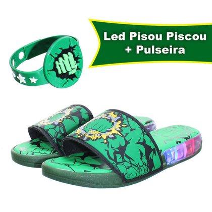 Chinelo Slide Infantil Menino Verde De Luz Led Com Pulseira