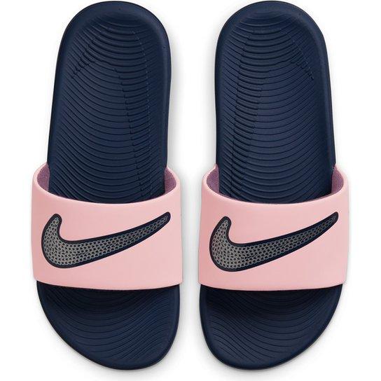 Chinelo Slide Infantil Nike Kawa 2 Masculino - Rosa+prata