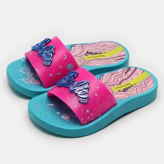 Chinelo Slide Ipanema Infantil Barbie Mística - Rosa e Azul - 31/32