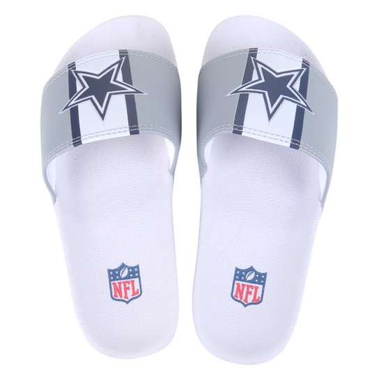 Chinelo Slide NFL Dallas Cowboys Masculino - Cinza+Azul