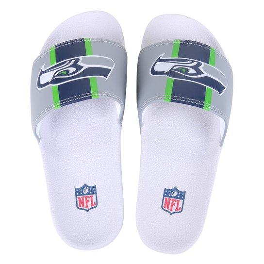 Chinelo Slide NFL Seattle Seahawks Masculino - Cinza+Azul