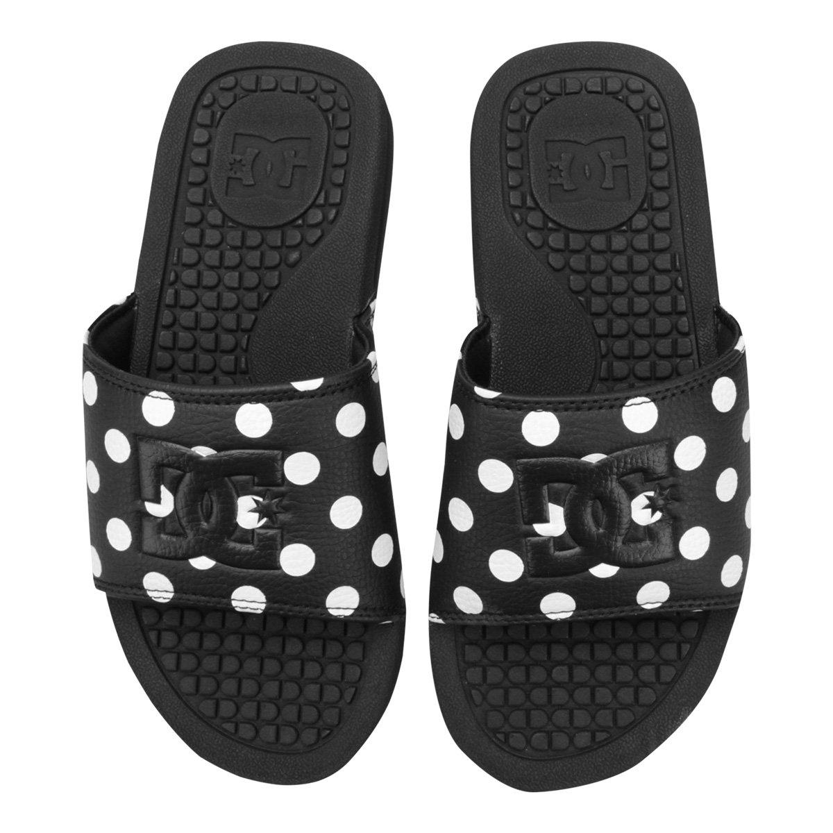 DC Chinelos Poá Shoes Preto Branco Chinelos e Feminino DC qEZRxUHww