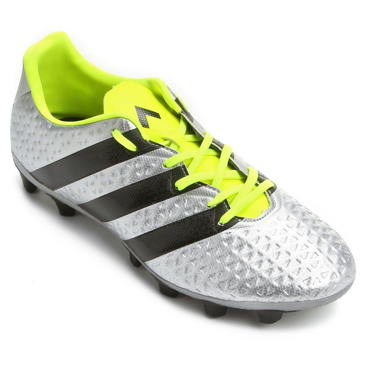 cheaper 60a55 5e8c9 Chuteira Adidas Ace 16.4 FXG Campo - Prata e Amarelo
