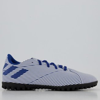 Chuteira Adidas Nemeziz 19.4 TF Society Juvenil Branca