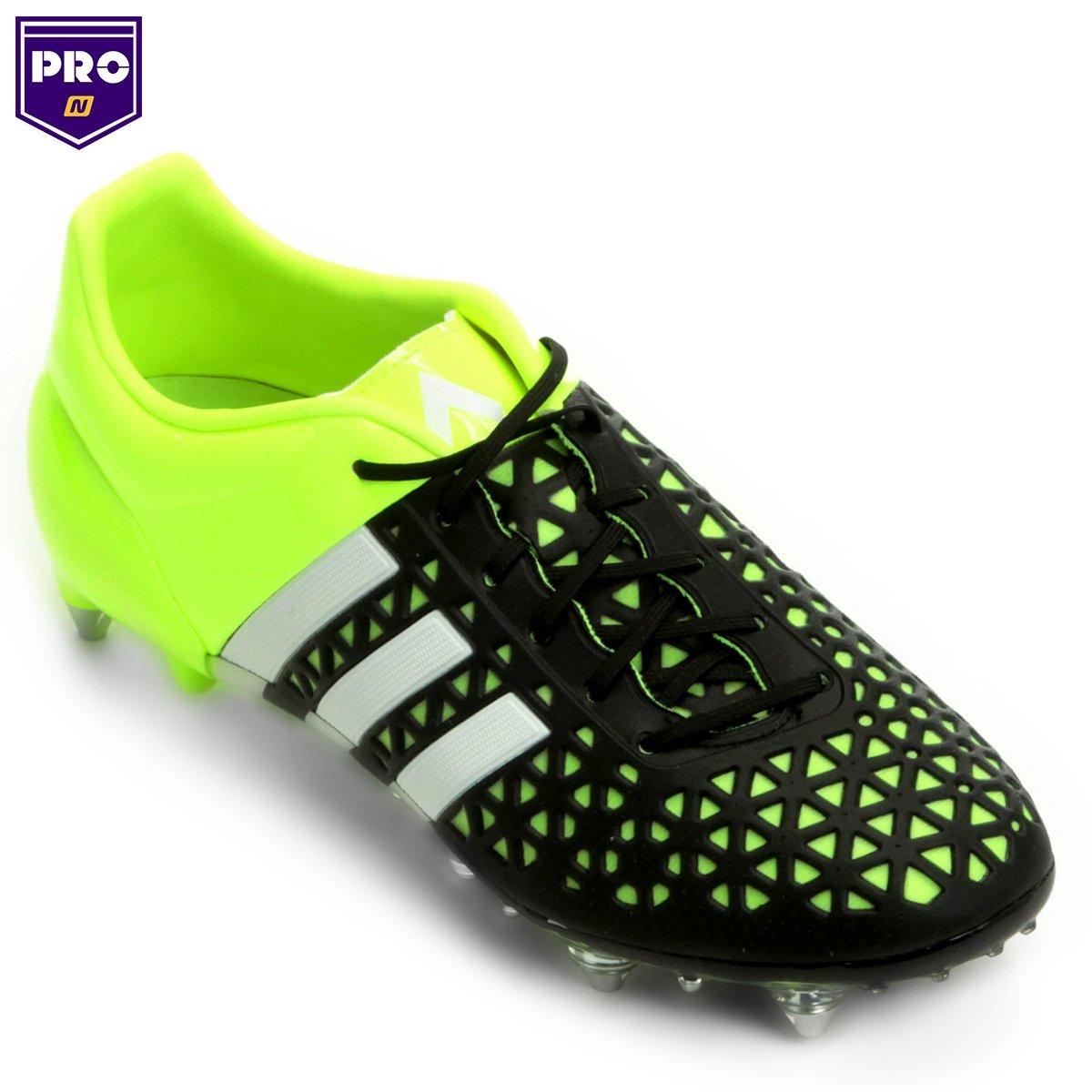 brand new 3a2a7 1a8f0 Chuteira Campo Adidas Ace 15 1 SG Masculina - Verde e Preto