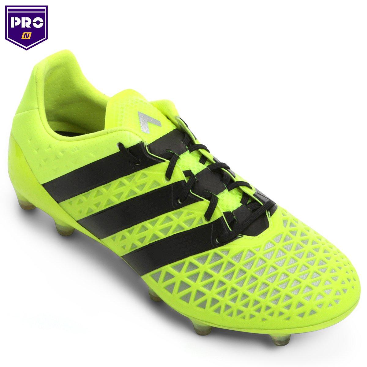 Chuteira Campo Adidas Ace 16.1 FG Masculina - Verde Limão e Preto ... 5edc35442ab8a