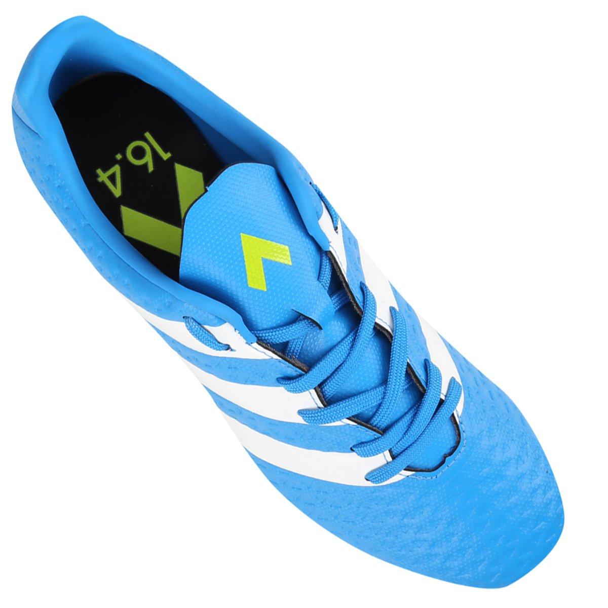 Chuteira Campo Adidas Ace 16.4 FXG Masculina - Azul Piscina e Verde ... 30f13faff05ab