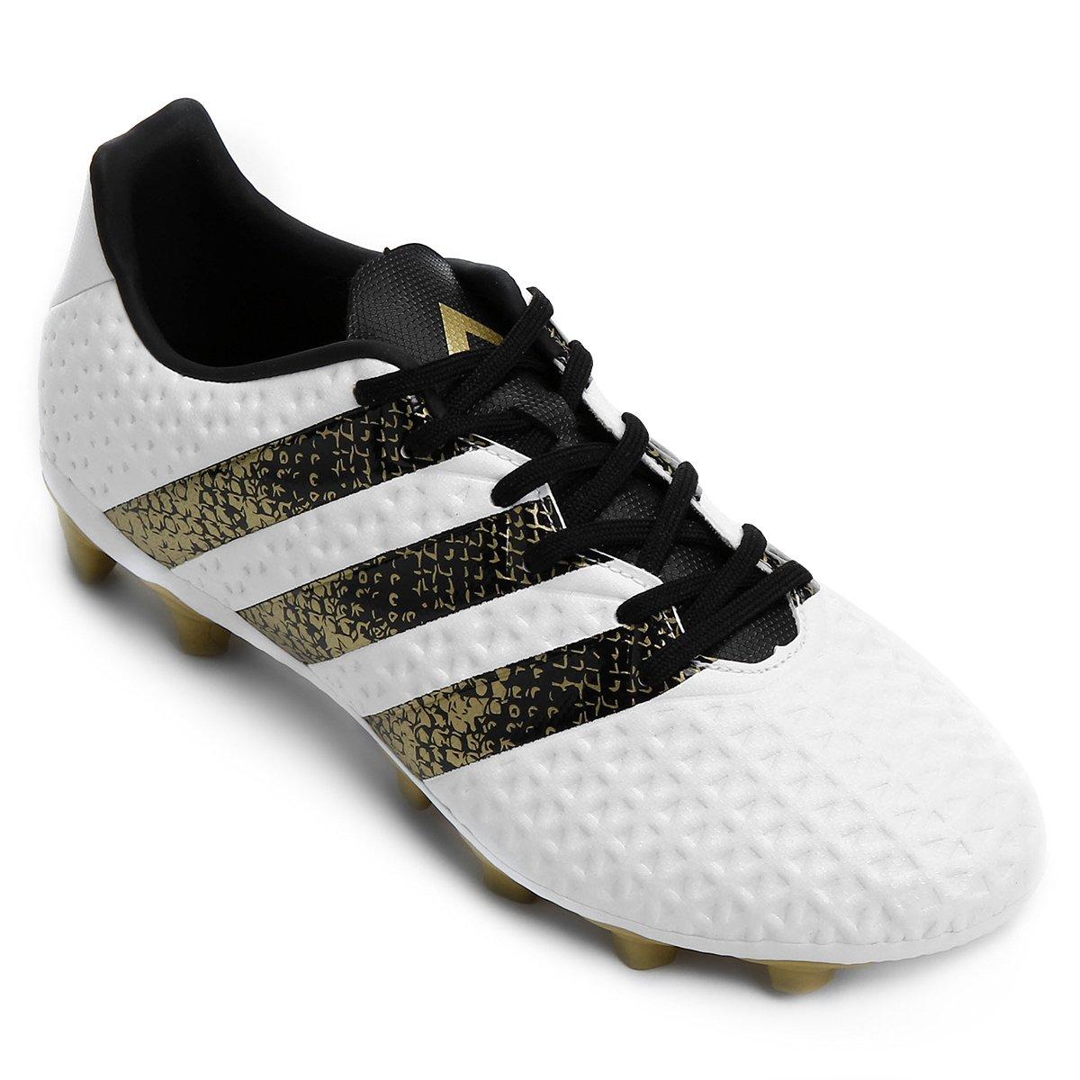 Chuteira Campo Adidas Ace 16.4 FXG Masculina - Branco e Preto ... e4d842b2defac