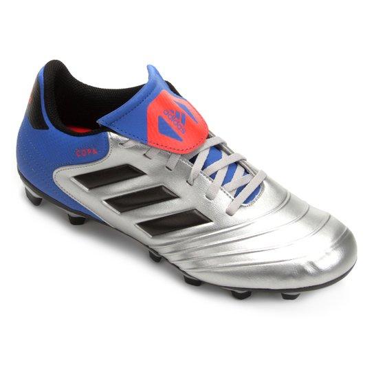 Chuteira Campo Adidas Copa 18 4 FG - Prata+Azul