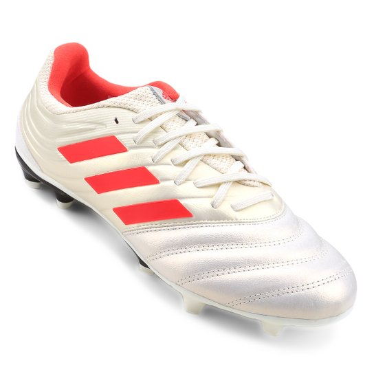 Chuteira Campo Adidas Copa 19 3 FG - Branco+Vermelho