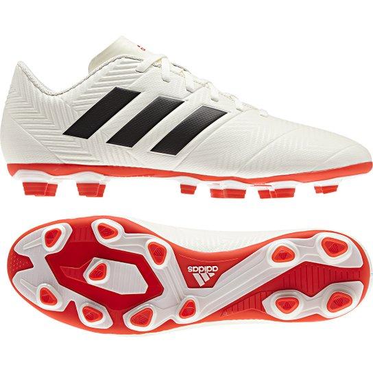 Chuteira Campo Adidas Nemeziz 18 4 FG - Branco+Vermelho