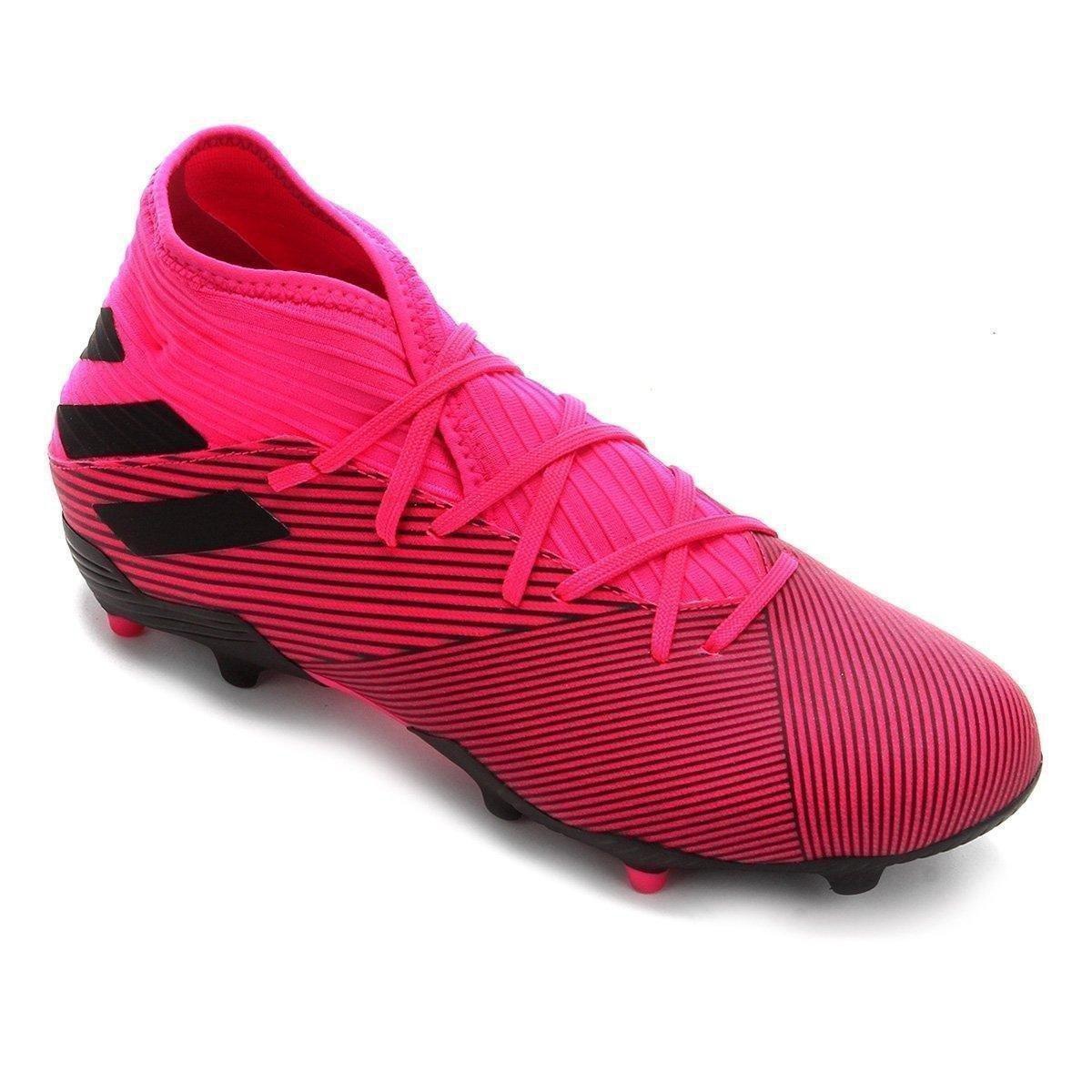 Chuteira Campo Adidas Nemeziz 19 3 FG - Pink e Preto