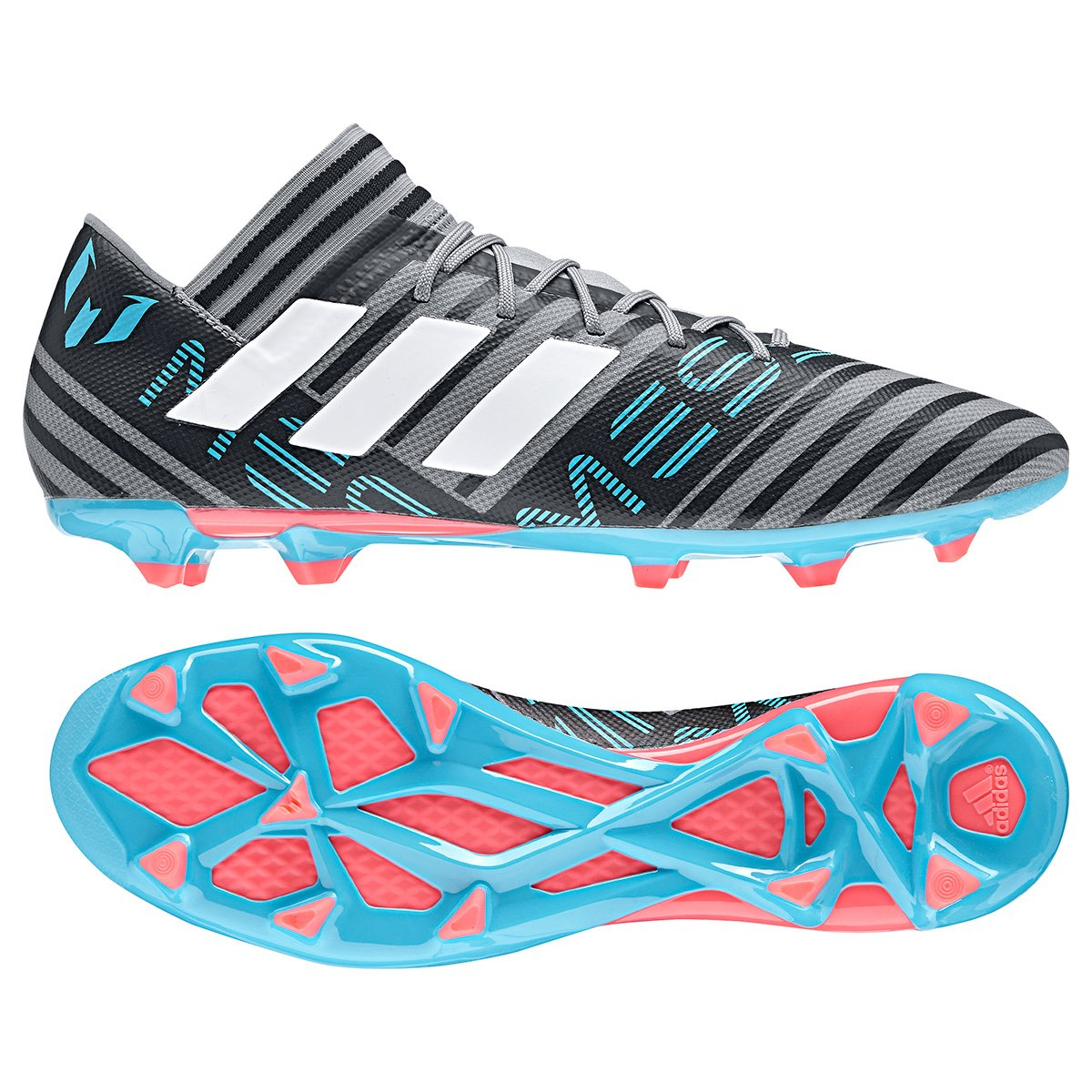 0c5b9a9af3 Chuteira Campo Adidas Nemeziz Messi 17.3 FXG - Cinza e Azul - Compre ...