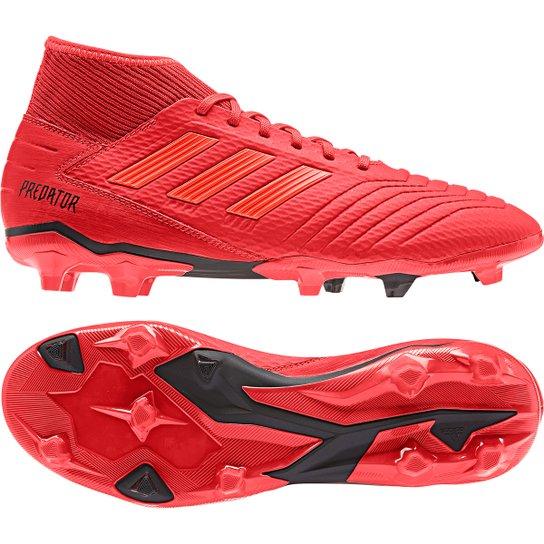 Chuteira Campo Adidas Predator 19 3 FG - Vermelho+Preto