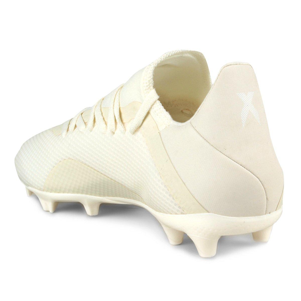Chuteira Campo Adidas X 18 3 FG - Branco - Compre Agora  24fed00bfddef