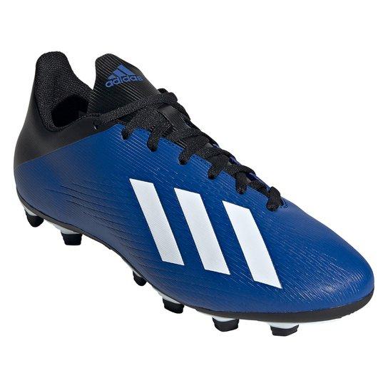 Chuteira Campo Adidas X 19 4 FG - Azul+Branco