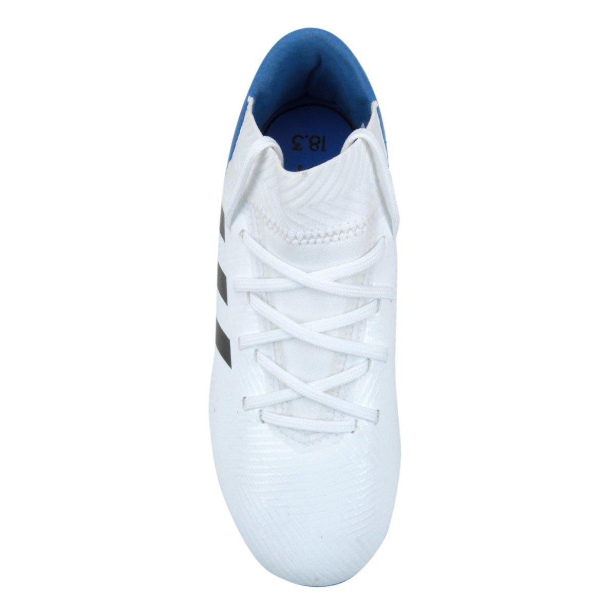 Chuteira Campo Infantil Adidas Nemeziz Messi 18 3 FG - Branco e ... 10b15994fd190